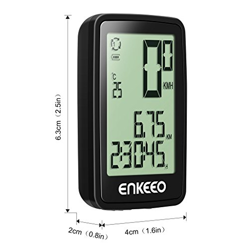 ENKEEO Wired Bike Computer USB Rechargeable Bicycle Speedometer Odometer with 12 Hour Backlight Display, Current/AVG/MAX Speed Tracking, Trip Time/Distance Recording for Cycling