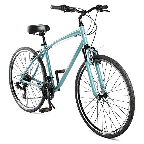 Retrospec Barron Comfort Hybrid Bike 21-Speed with Front Suspension and 700c Wheels with Multi-Surface Tires; 20″ Large, Blue Fog
