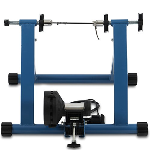 Akonza Indoor Bicycle Bike Trainer Exerciser Stationary Machine Magnetic 7-Resistance Work Out, Blue