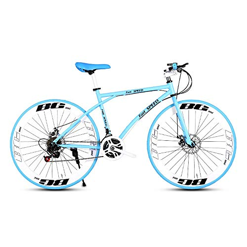 LRHD-Mens-and-Womens-Road-Bicycles-24-Speed-26-inch-Bicycles-Adult-only-High-Carbon-Steel-Frame-Road-Bicycle-Racing-Wheeled-Road-Bicycle-Double-Disc-Brake-Bicycles-Blue-and-White