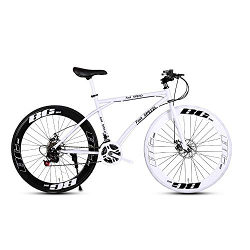 LRHD-Mens-and-Womens-Road-Bicycles-24-Speed-26-inch-Bicycles-Adult-only-High-Carbon-Steel-Frame-Road-Bicycle-Racing-Wheeled-Road-Bicycle-Double-Disc-Brake-Bicycles-Black-and-White