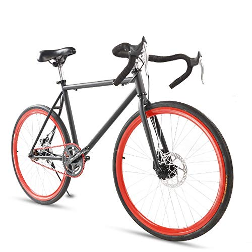 LRHD-Road-Bike-for-Men-and-WomenSimple-Bicycle-Adult-Womens-Bicycle-Student-Mens-Double-Disc-Brake-Sports-Car-2624-Inch-Two-Pneumatic-RacingBlack-and-Red